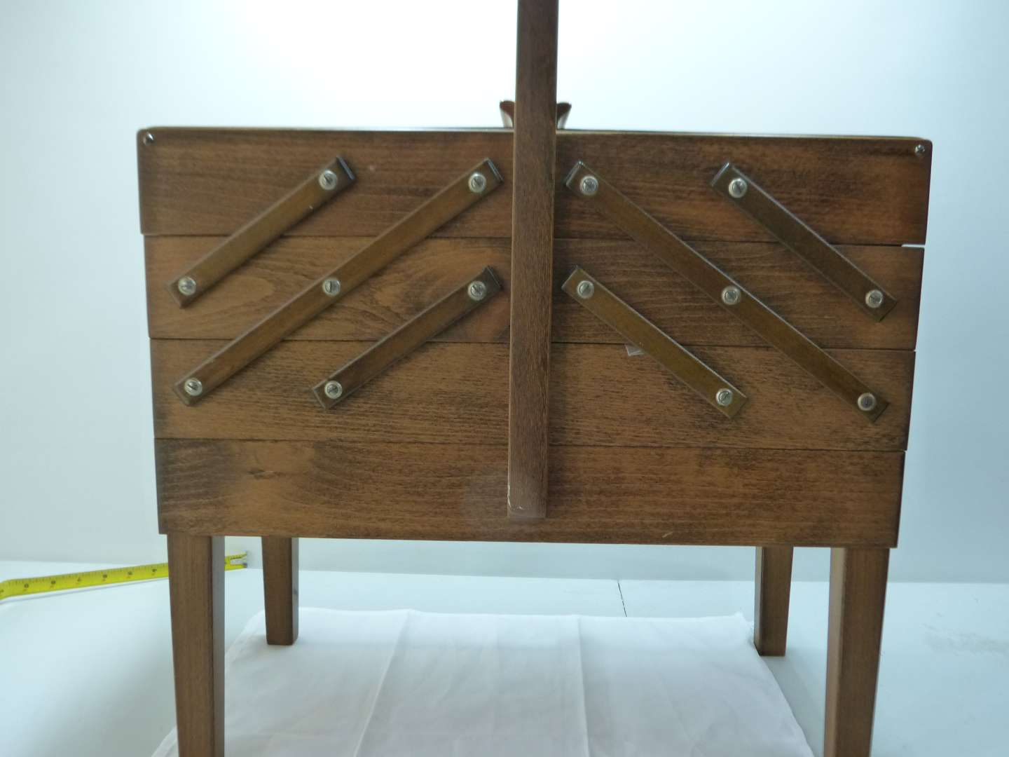 Lot # 3  Mid Century Modern made in Norway sewing cabinet (excellent condition) with content)