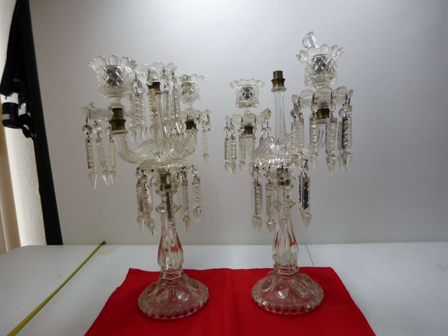 Lot # 4  Antique pair of triple candle holders with great prisms (shows some breakage-parts only)