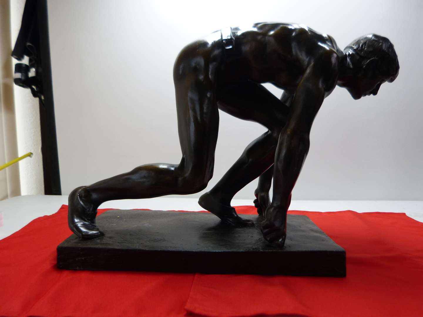 """Lot # 5  AMAZING and HUGH & HEAVY bronze runner signed overall 23"""" long"""