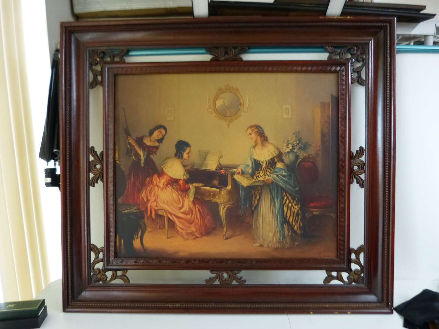 """Lot # 6  Listed artist J. Jambor large 43X38"""" Victorian style print with awesome frame"""