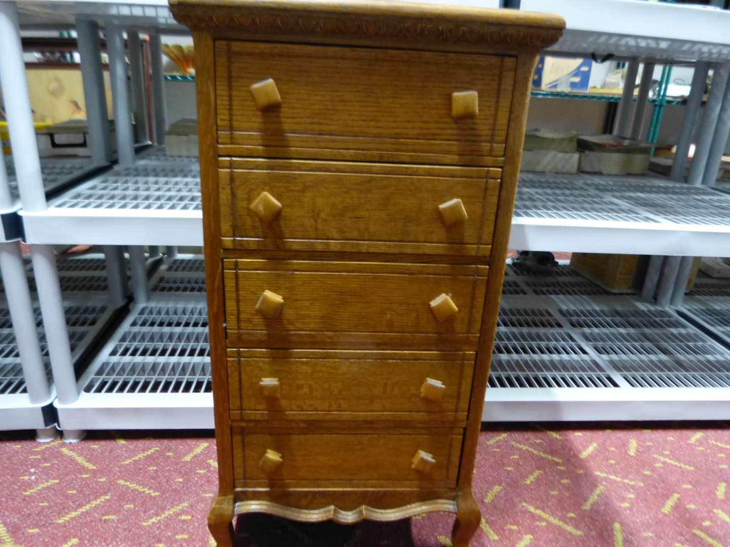 """Lot # 8  Great antique 5 drawer solid oak chest 18"""" wide X 35"""" tall (great condition)"""