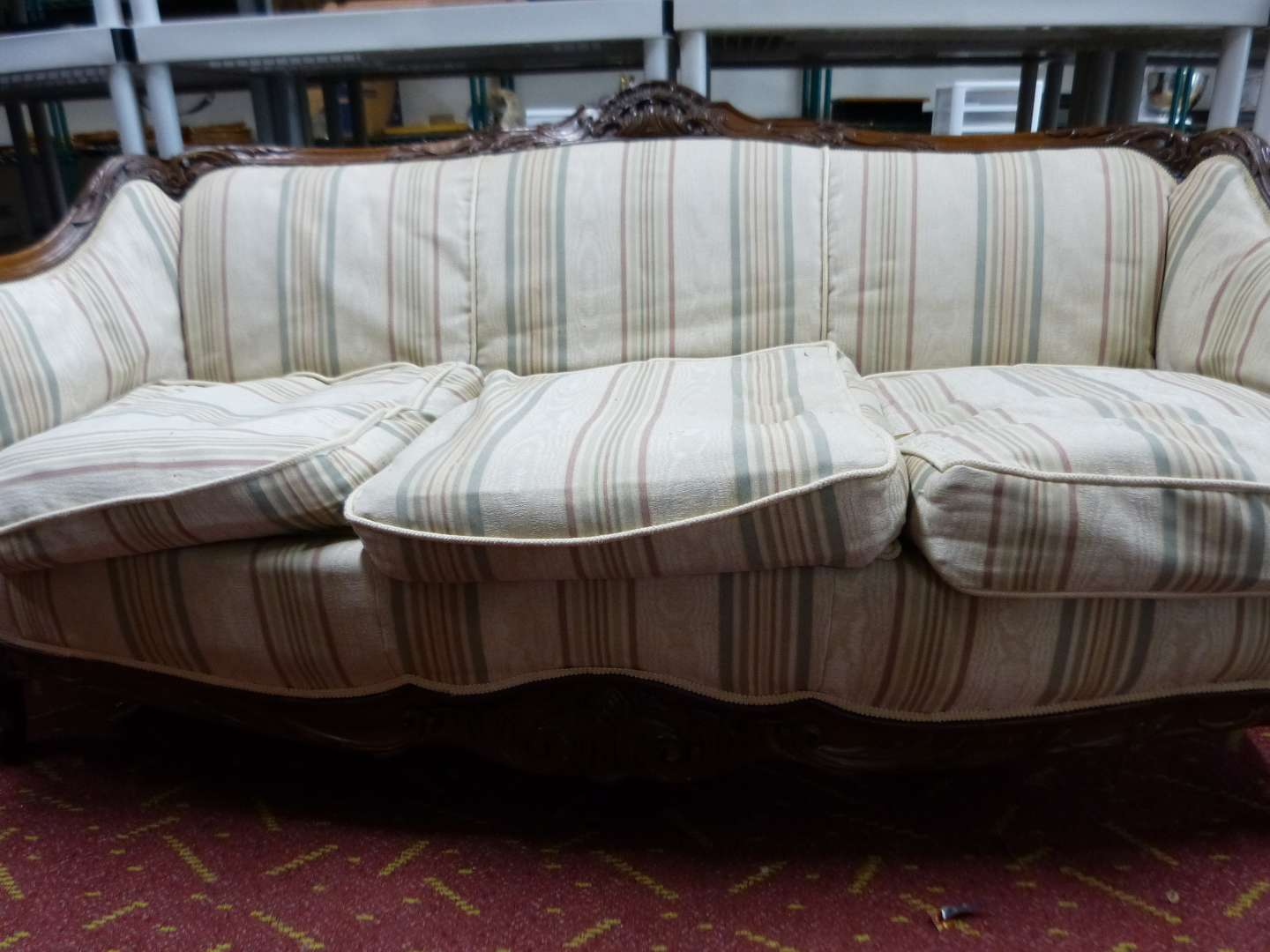 Lot # 16  Antique 6' couch w/ great solid wood back arms and apron