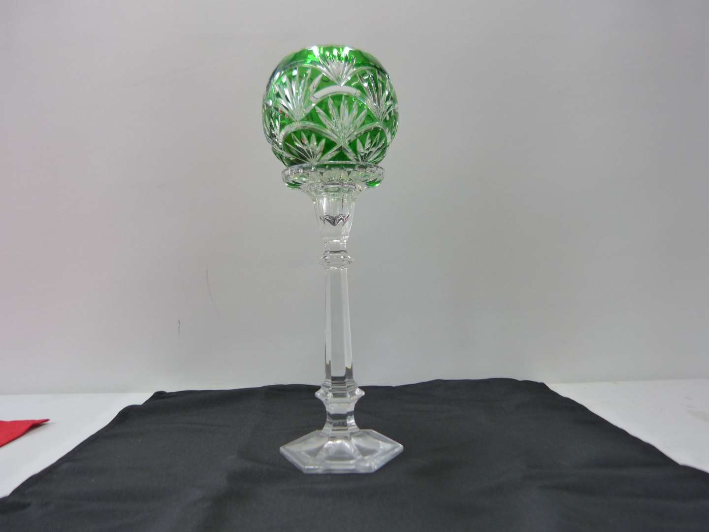 Lot # 19  Bohemian green cut to clear tall candle holder