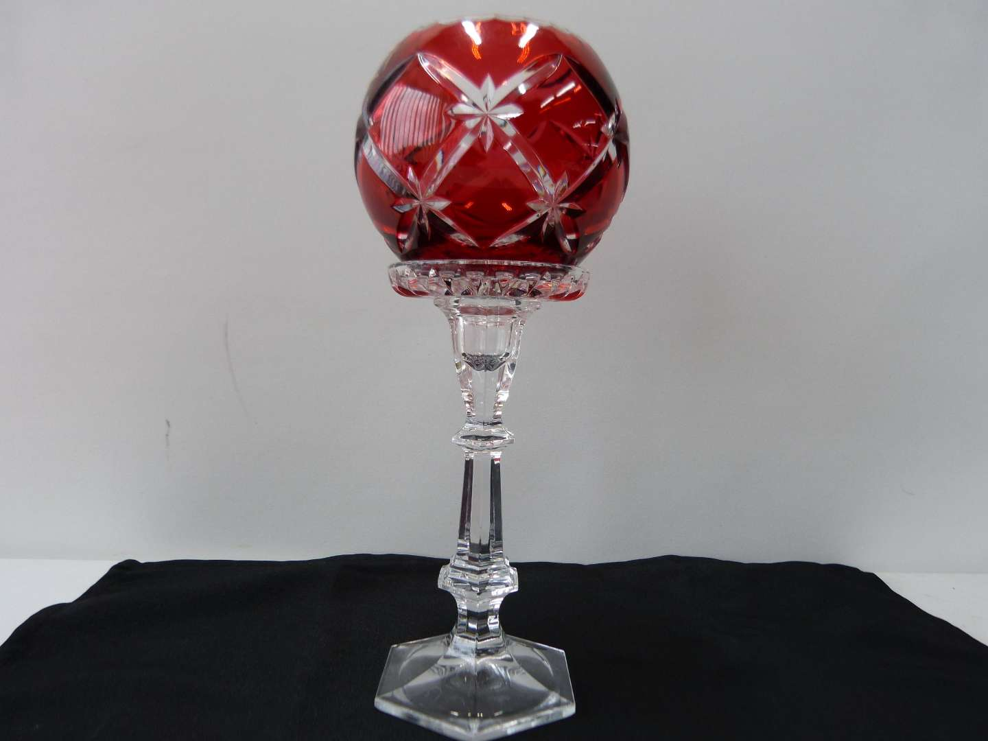 Lot # 20  Bohemian red cut to clear tall candle holder