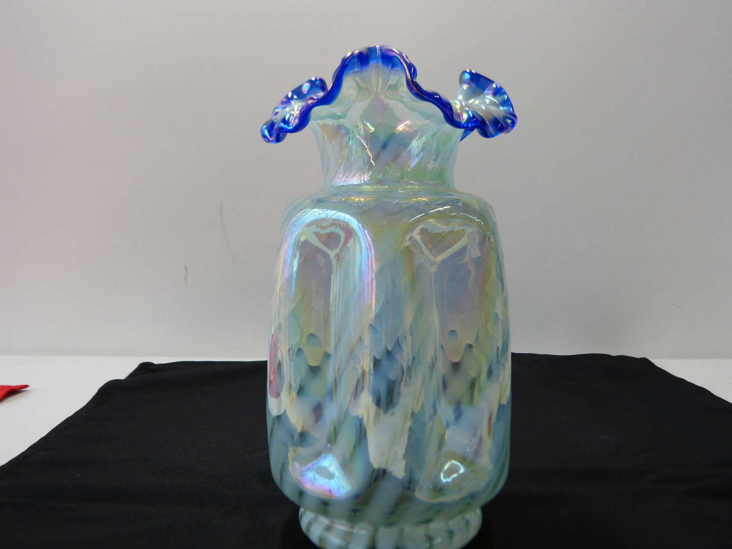 """Lot # 36  Great ruffled and pinched Fenton swirl vase 9"""""""