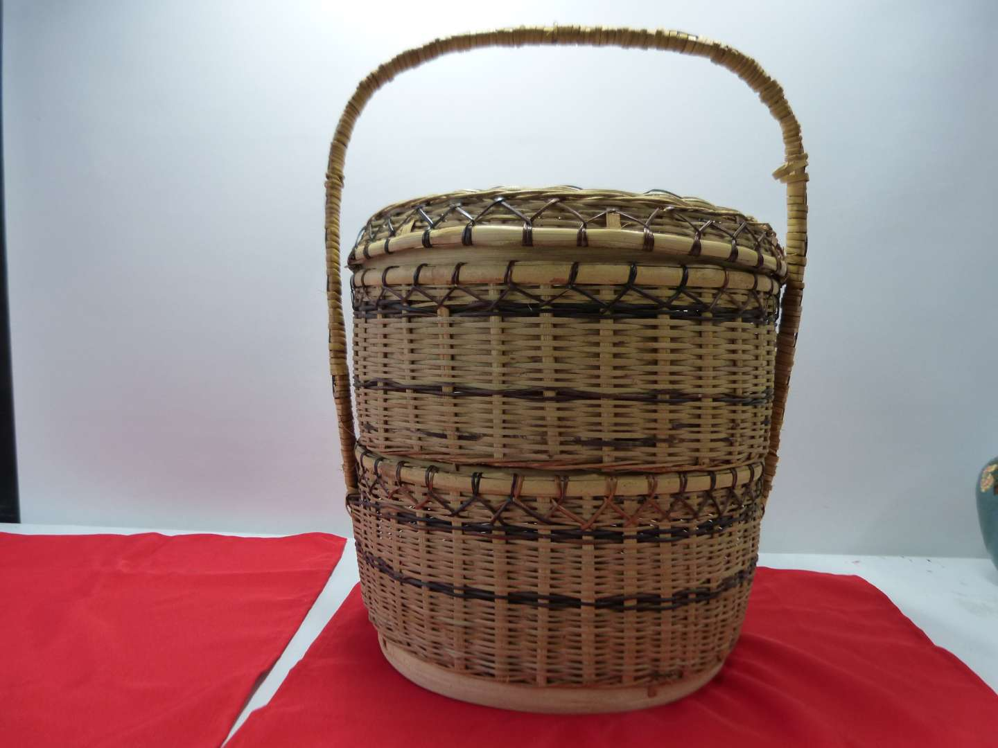 Lot # 103 Large Oriental style weave basket Double layer