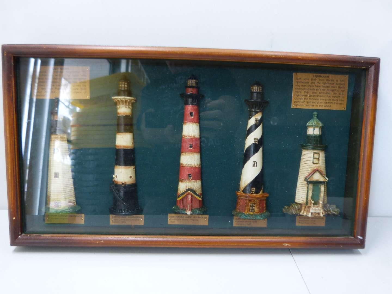 Lot # 152  Nice shadow box depicting lighthouse scene