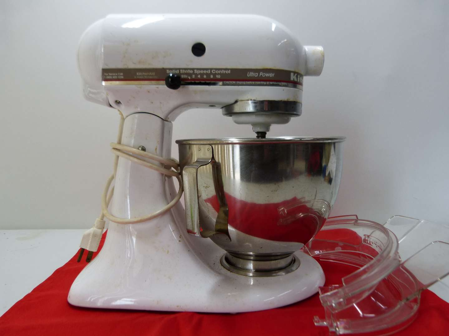 Lot # 154  White Kitchen Aide Ultra Power mixer with attachments