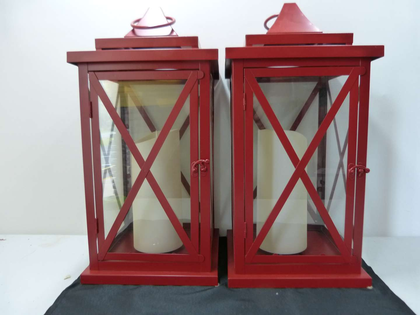 Lot # 156  Large pair Candle holders (candles work they are flicker)