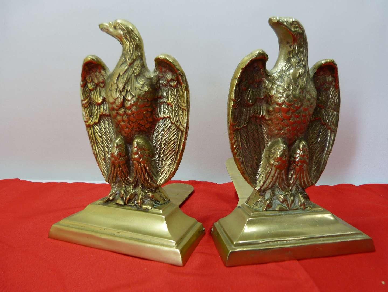 Lot # 165  Fantastic vintage brass Eagles bookends