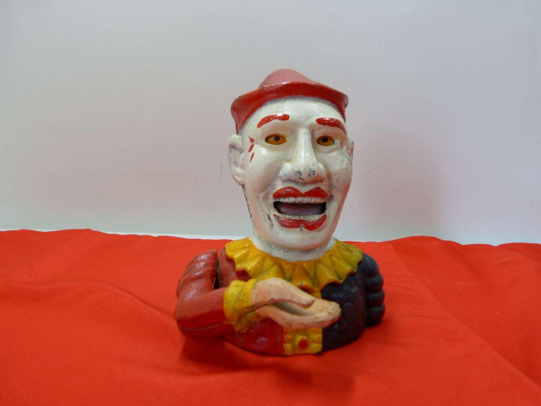 Lot # 168  Cool vintage (but not antique) cast iron clown bank