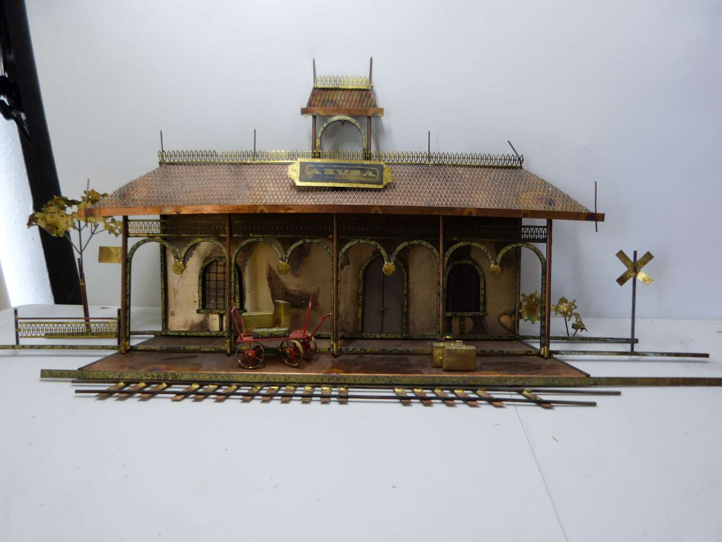 Lot # 174  WOW hand made LARGE copper train station (extremely well made)