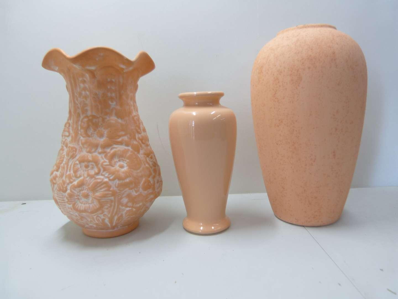 Lot # 175  3 terracotta & porcelain vases