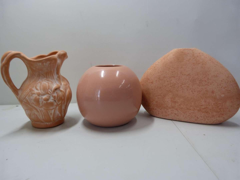 Lot # 176  3 terracotta & porcelain vases
