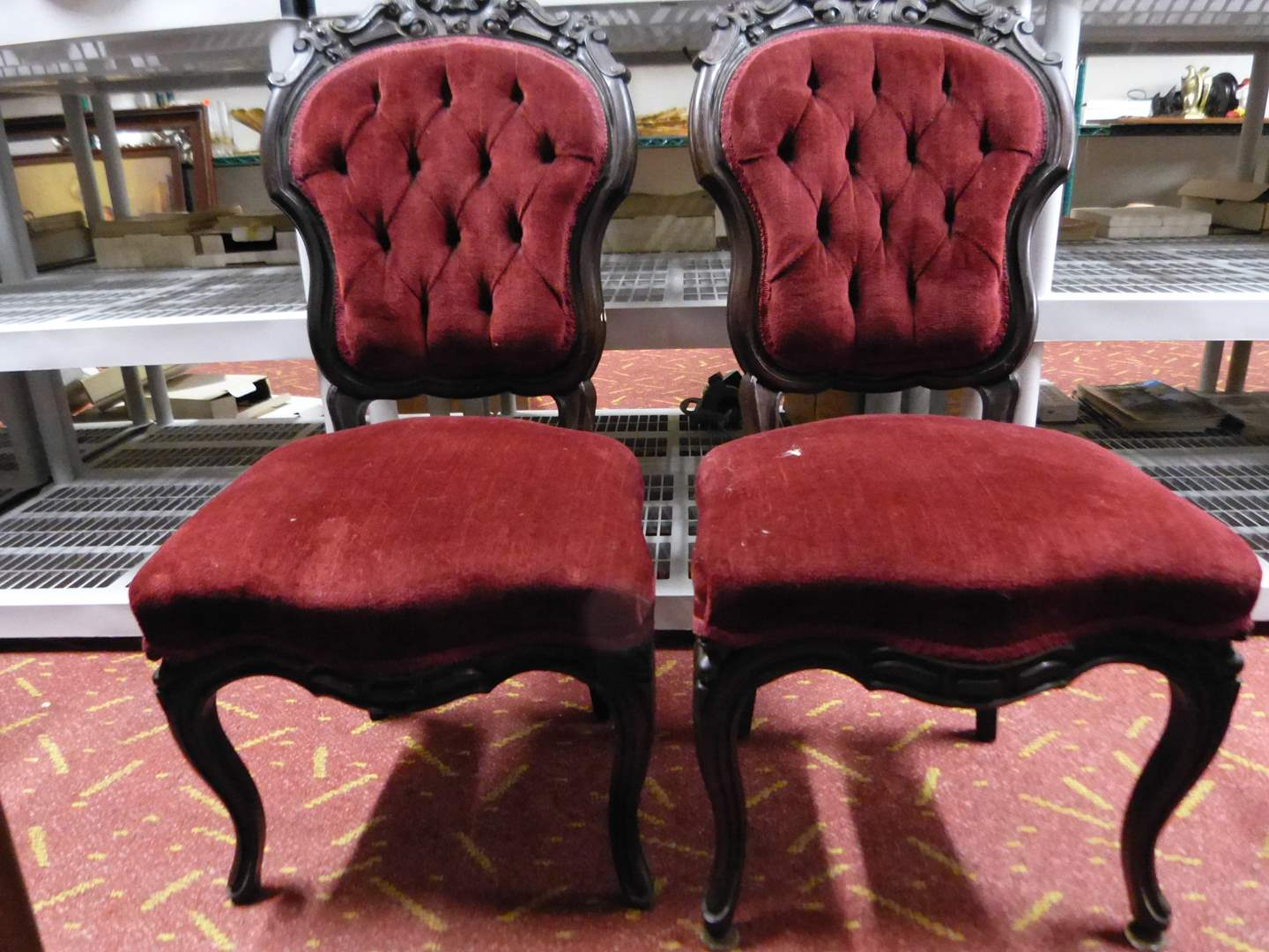 Lot # 11  Pair Victorian tufted walnut rose carved chairs great condition) GUARANTEED to be antique