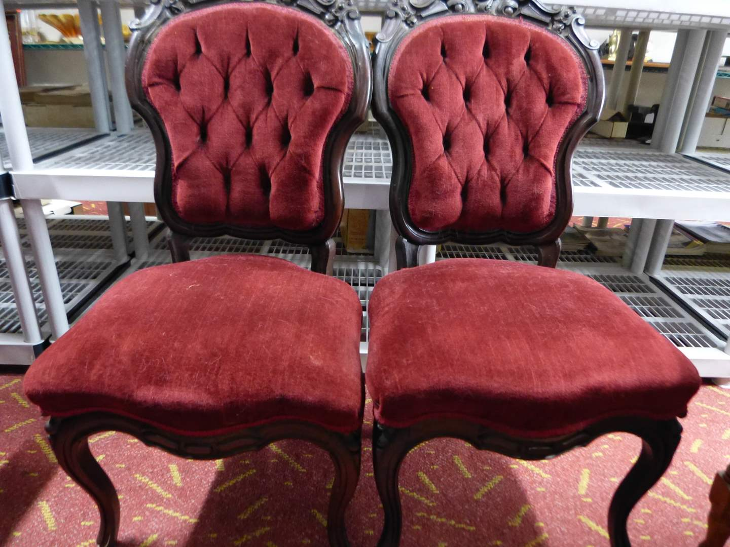 Lot # 12   Pair Victorian tufted walnut rose carved chairs great condition) GUARANTEED to be antique