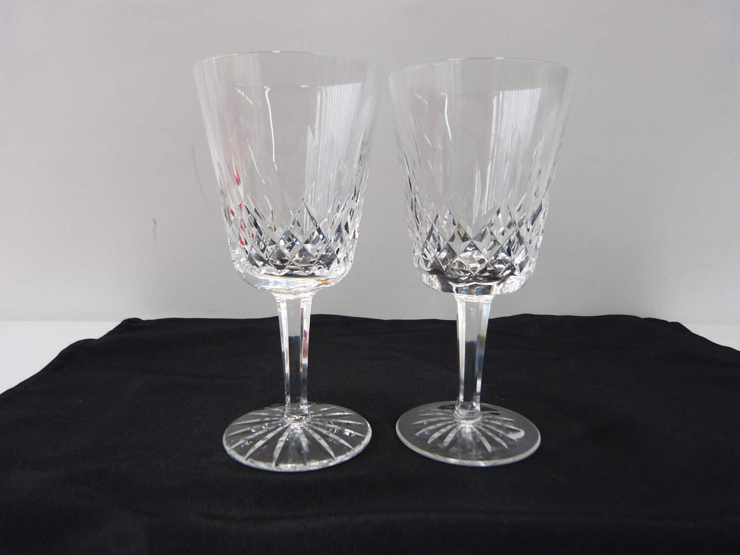 Lot # 22  Pair signed Waterford water glasses (Lismore pattern)  (main image)