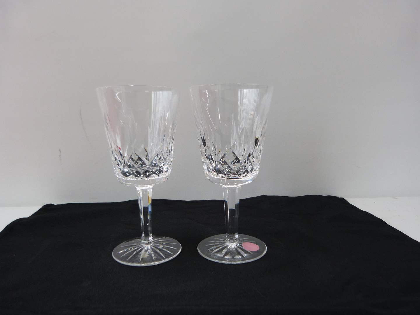 Lot # 23  Pair signed Waterford  water glasses (Lismore pattern)  (main image)