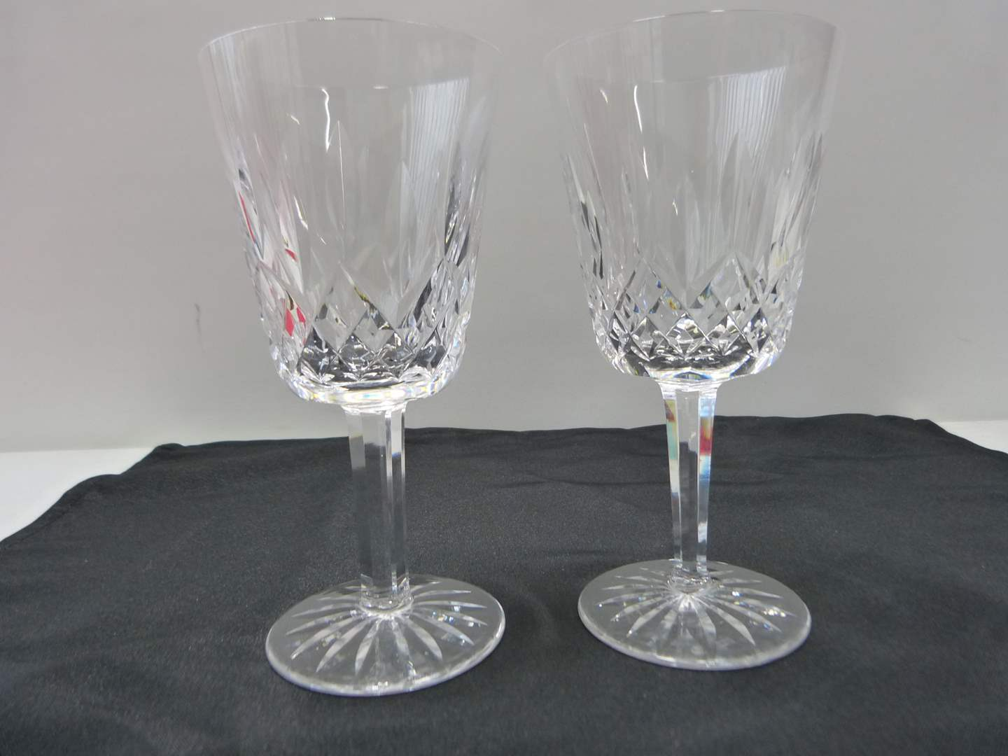 Lot # 25  Pair signed Waterford water glasses (Lismore pattern)  (main image)