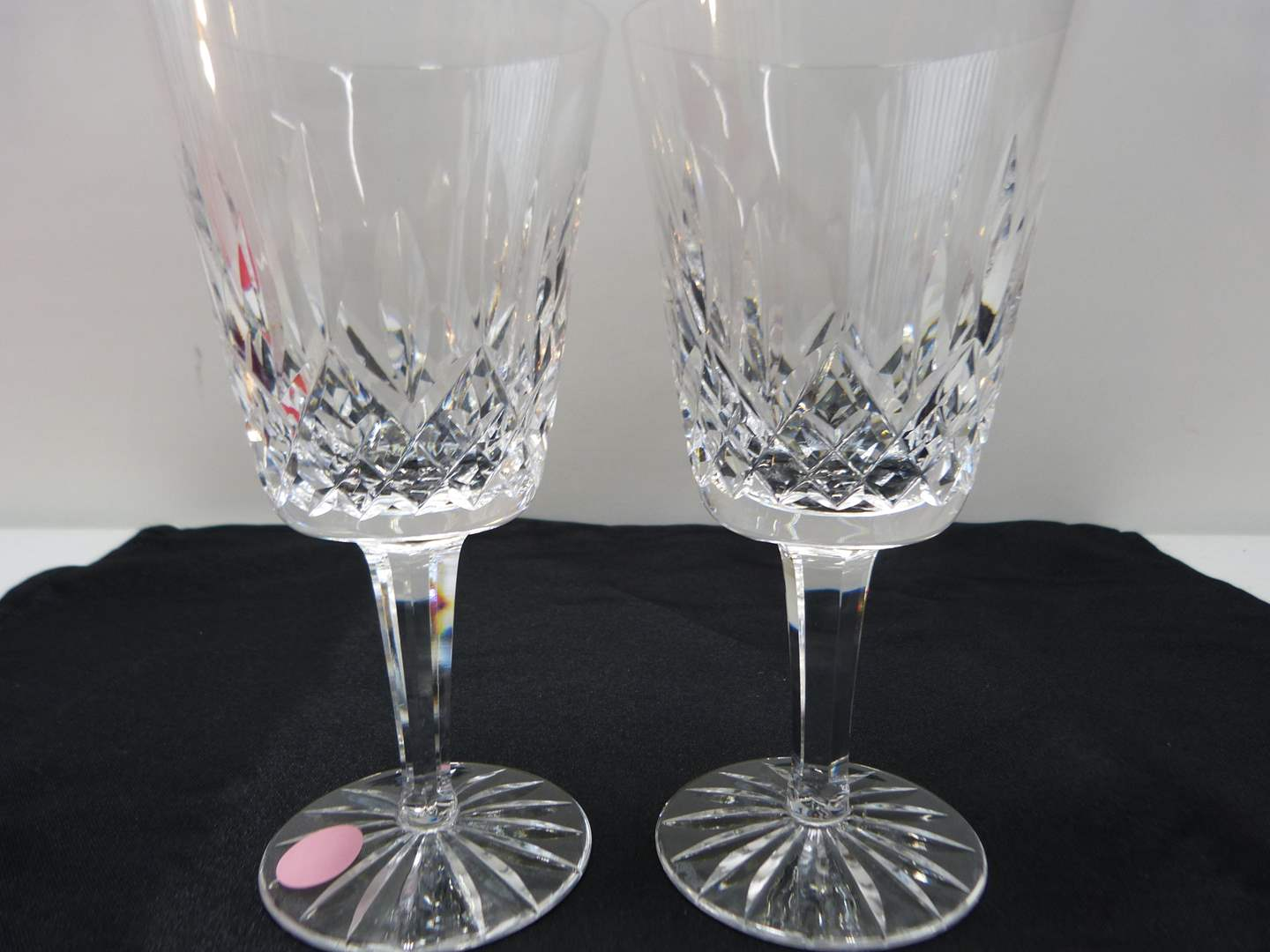 Lot # 26  Pair signed Waterford water glasses  (Lismore pattern)  (main image)