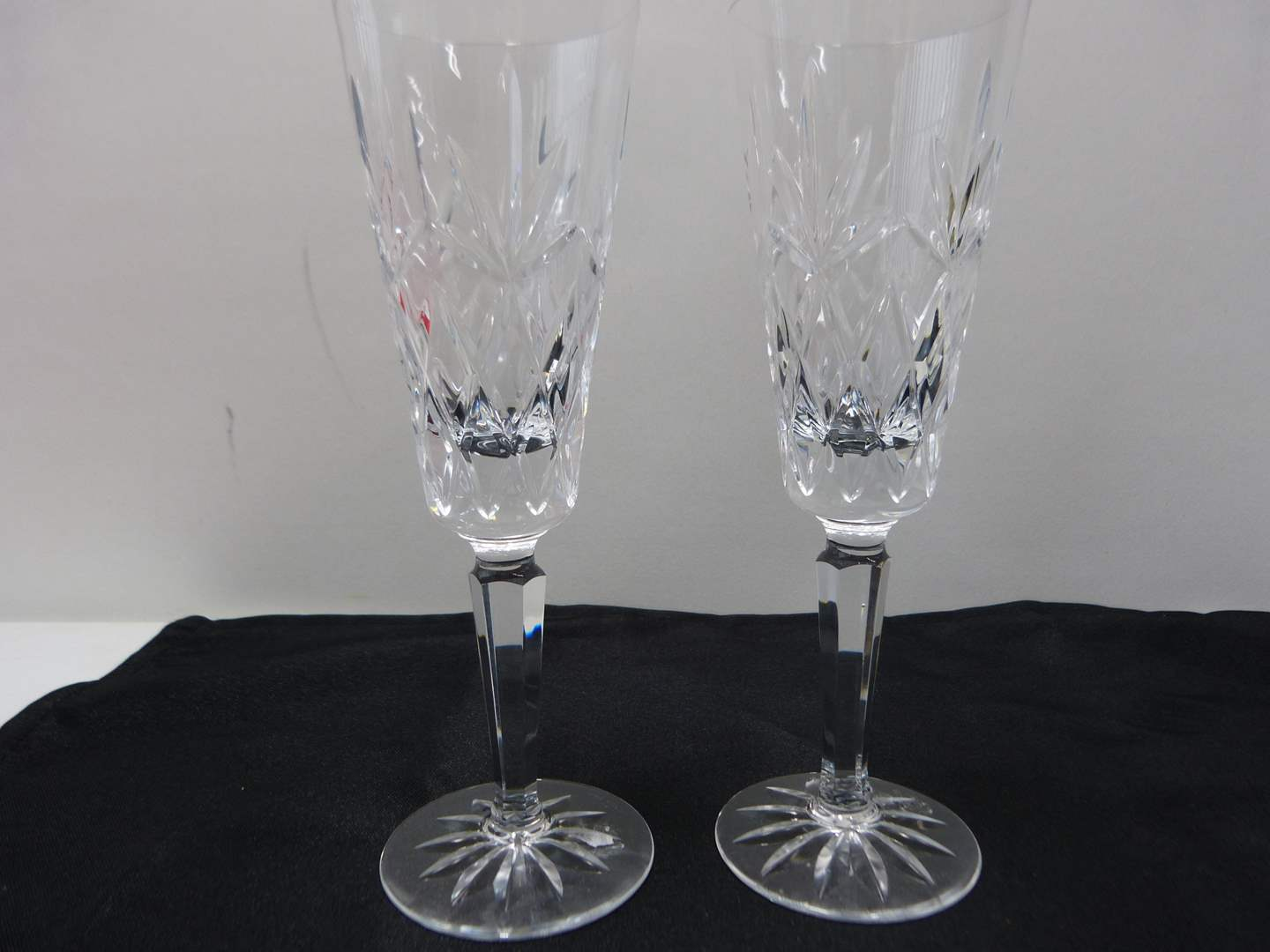 Lot # 28  Pair signed Waterford champagne flutes (Lismore pattern)  (main image)