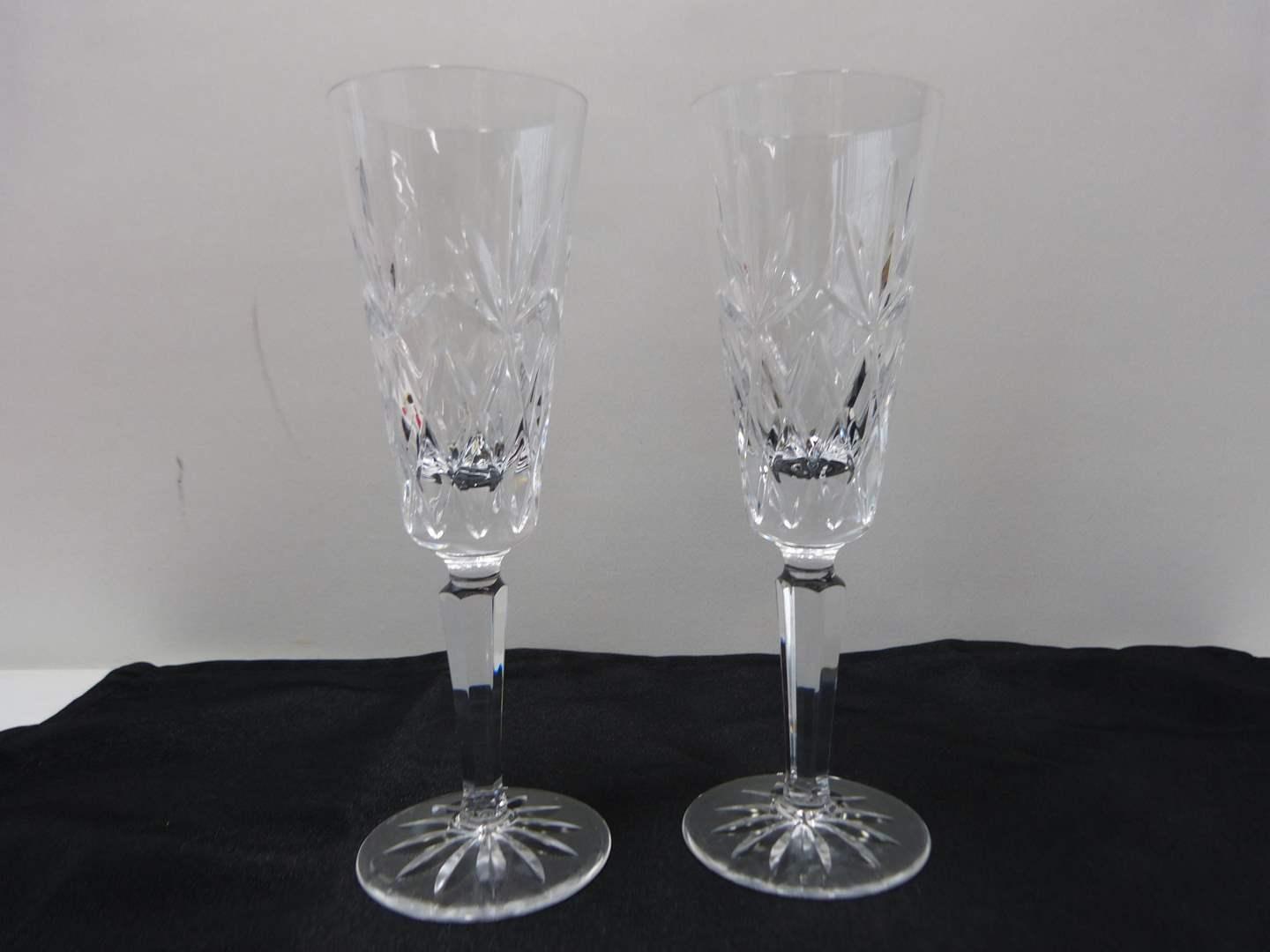 Lot # 29  Pair signed Waterford champagne flutes (Lismore pattern)  (main image)