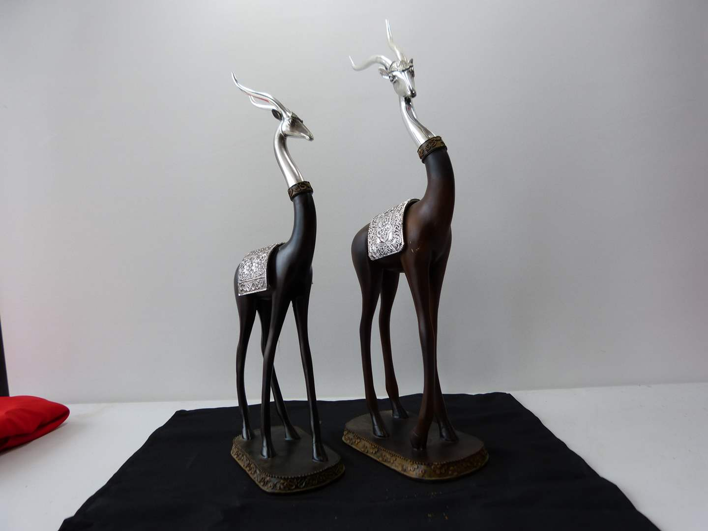 """Lot # 47  Great pair Horned (Impala?) figures with silverplate accents 20"""" tall"""