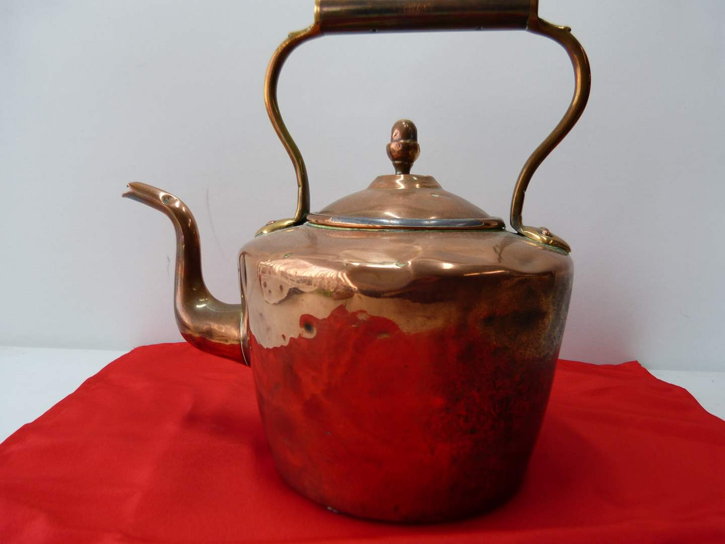 Lot # 51  WOW antique hand hammered copper kettle