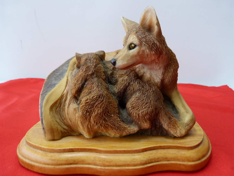 Lot # 52  Mother fox w/babies by Mill Creek Studios (main image)
