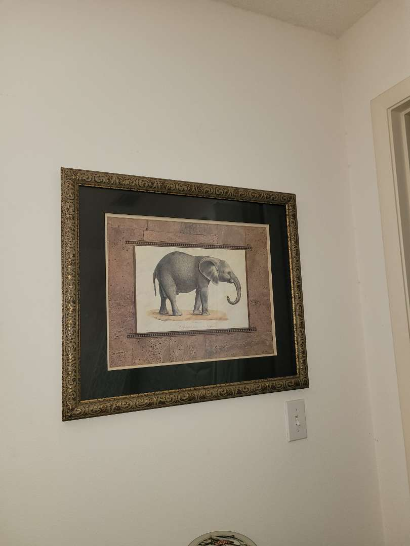 Lot # 1 Print of Elephant Framed & Matted