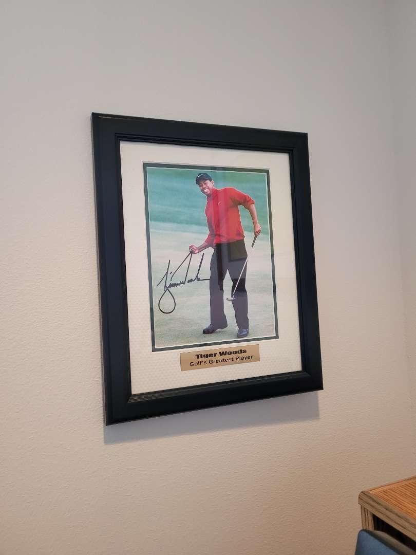 Lot # 5 Tiger Woods Framed Photo - Signed w/ COA