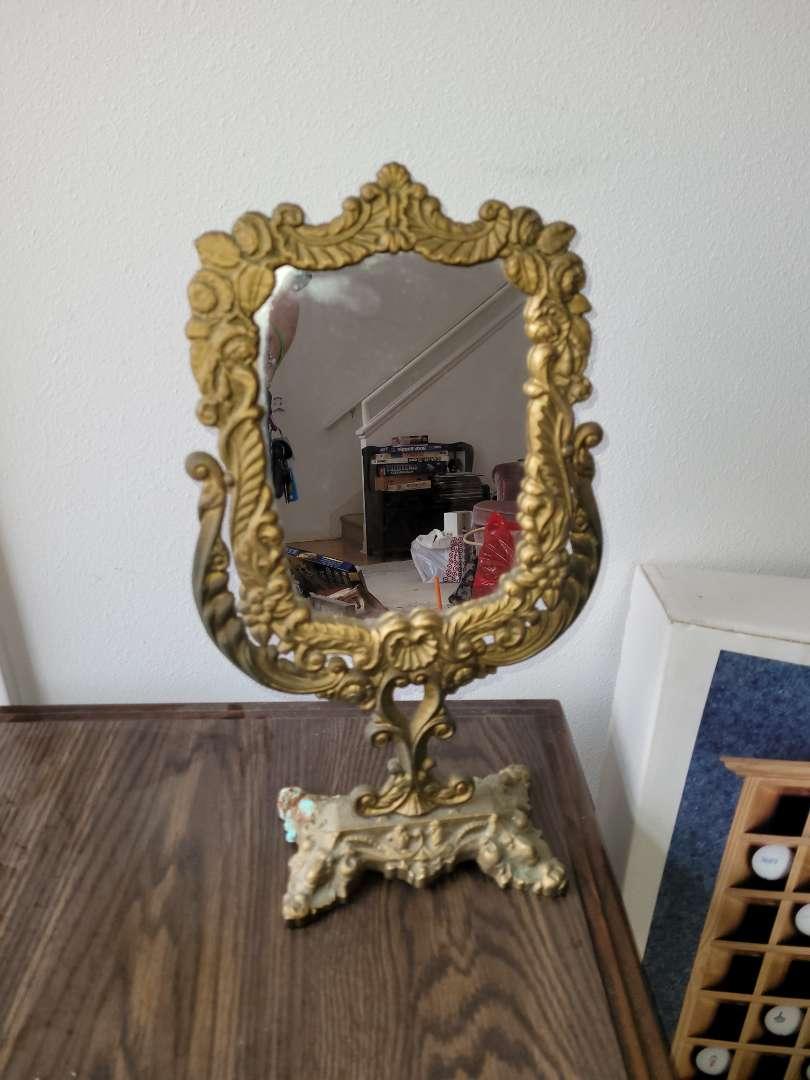 Lot # 11 Vintage Brass Table Mirror