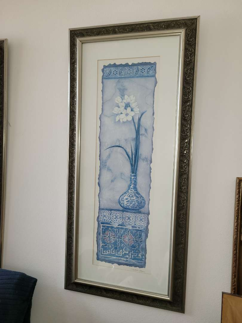 Lot # 13 Daisy Print Framed & Matted- Signed C. Olson