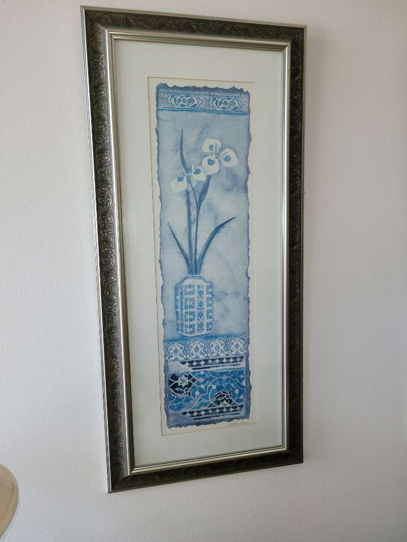 Lot # 14 Orchid Print Framed & Matted- Signed C. Olson