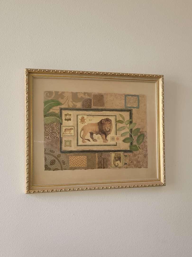 Lot # 15 Lion Print Framed & Matted- Signed