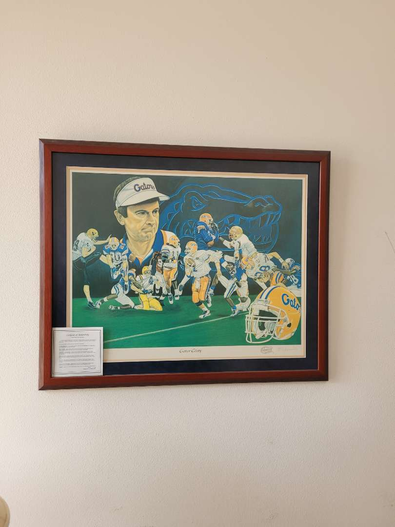 """Lot # 17 Authentic w/ COA """"Gator Glory"""" By Phyl Brown - Signed & Numbered & co Signed by Steve Spurrier - # 20/100"""