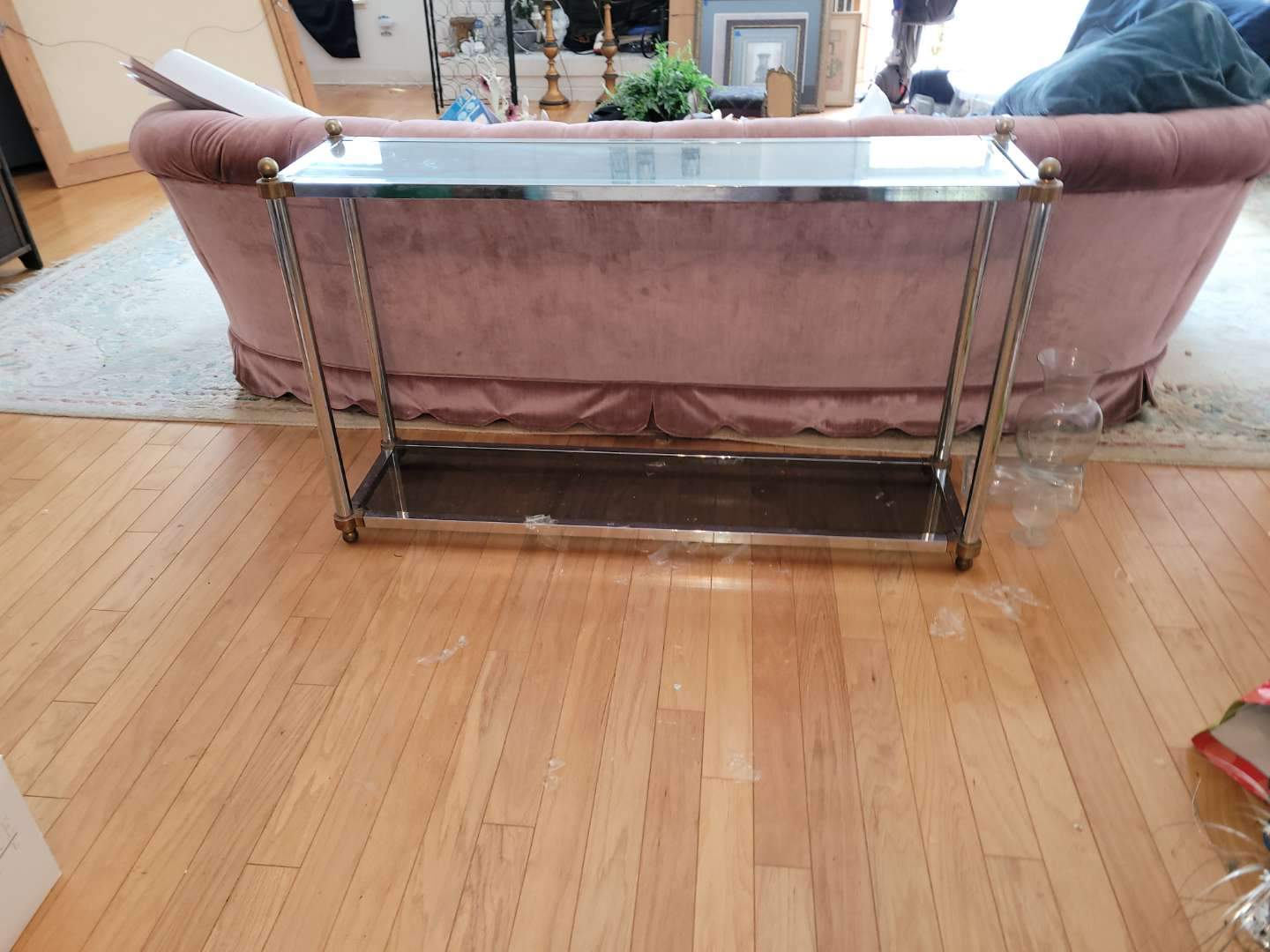 Lot # 33 Metal w/ Glass Top Couch/Wall Table