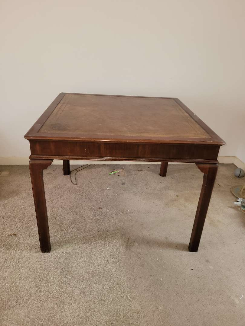 """Lot # 44 Wood w/ Leather Wrapped Top Kitchen/Card Table - 36"""""""