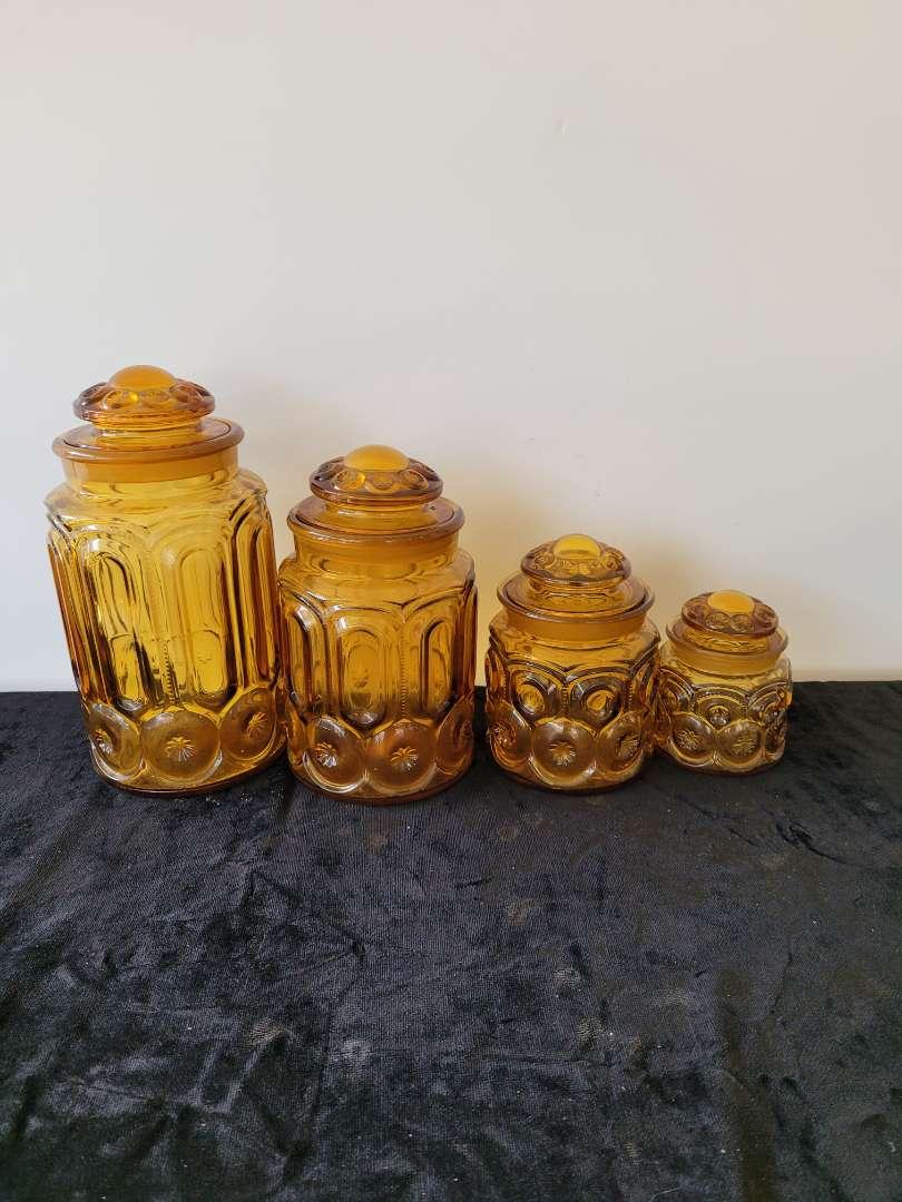 Lot # 56 Amber Glass Canister Set w/ Lids