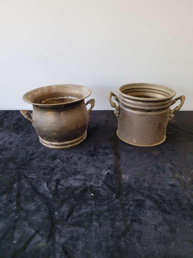 Lot # 62 (2) Double Handled Brass Buckets