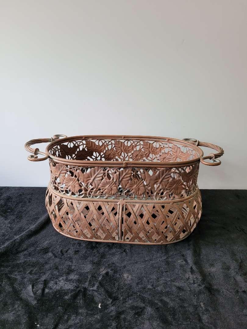 Lot # 67 Large Copper Colered Heavy Metal Basket