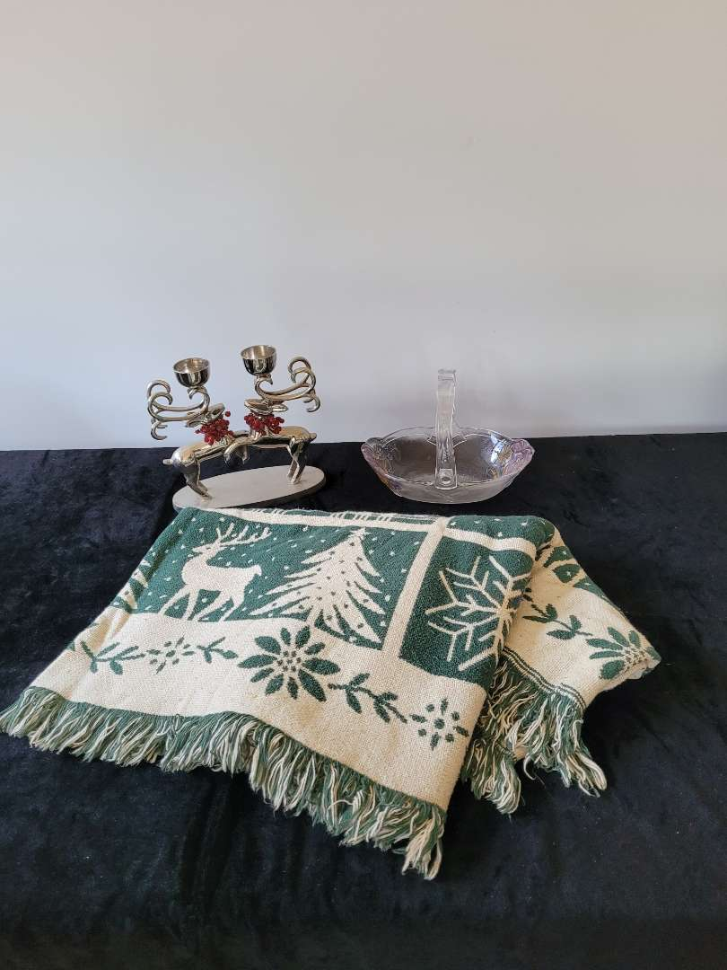 Lot # 77 Xmas Throw Blanket, Reindeer Candle Holder & Glass Candy Dish
