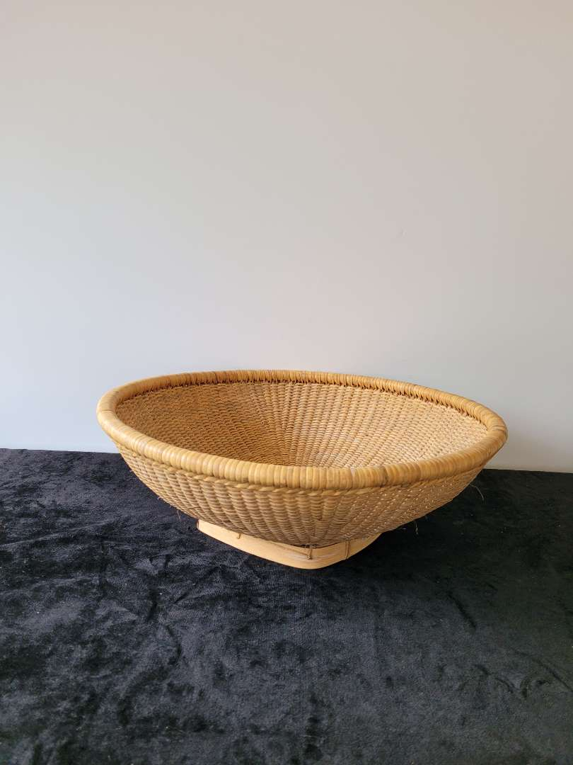 """Lot # 83 Very Large 21"""" Handmade Basket - Made in the Phillipines"""