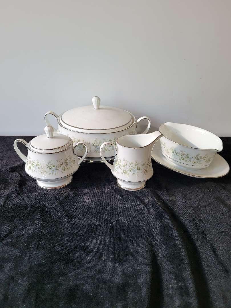 Lot # 96 Noritake Savannah China Pieces #2031 - Gravy Boat, Lidded Bowl, Sugar Bowl & Creamer