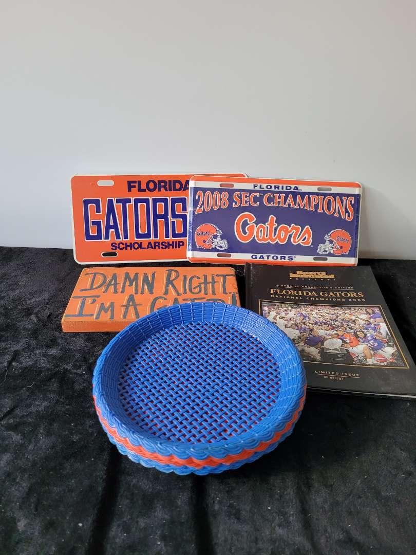 Lot # 97 Gator License Plates, Sign & More