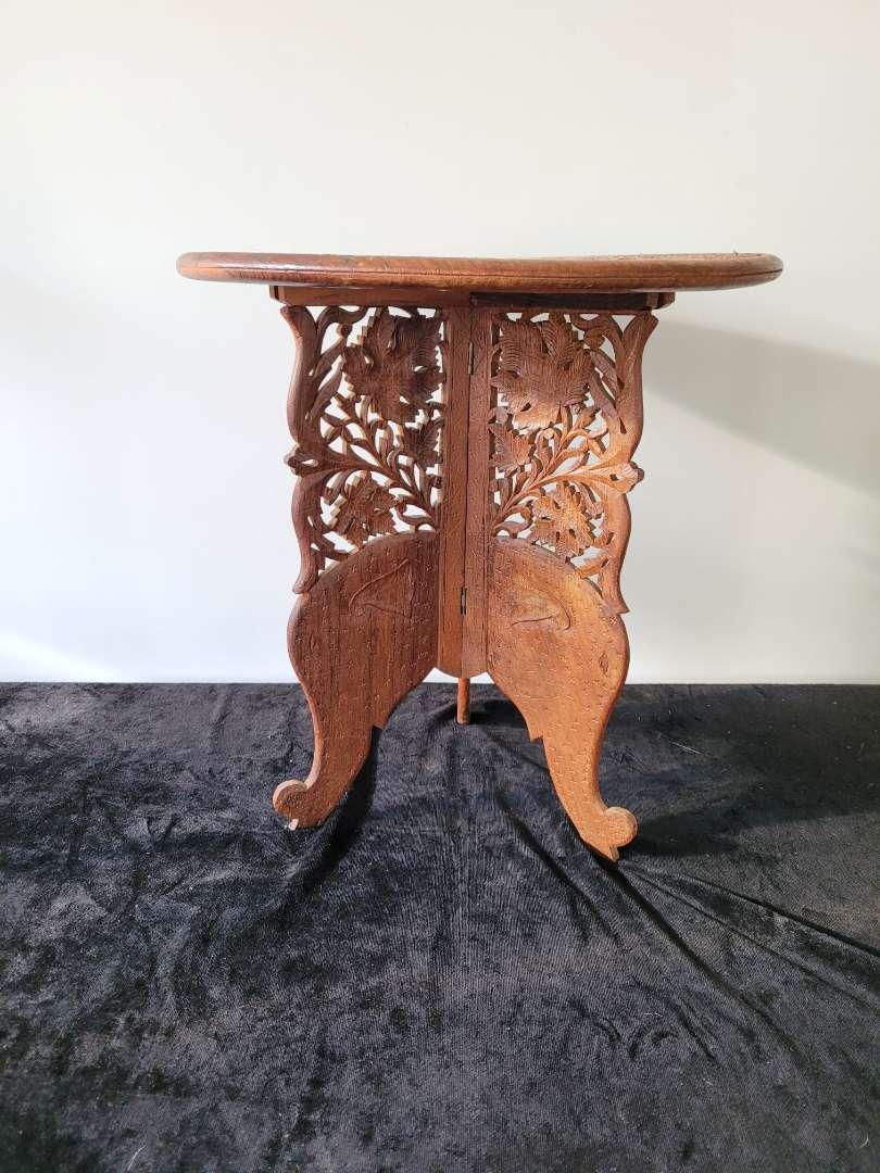 Lot # 99 Nice Carved Wood Table w/ Elephant Legs