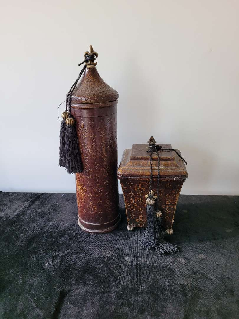 Lot # 128 Pair of Leather Wrapped Storage Containers