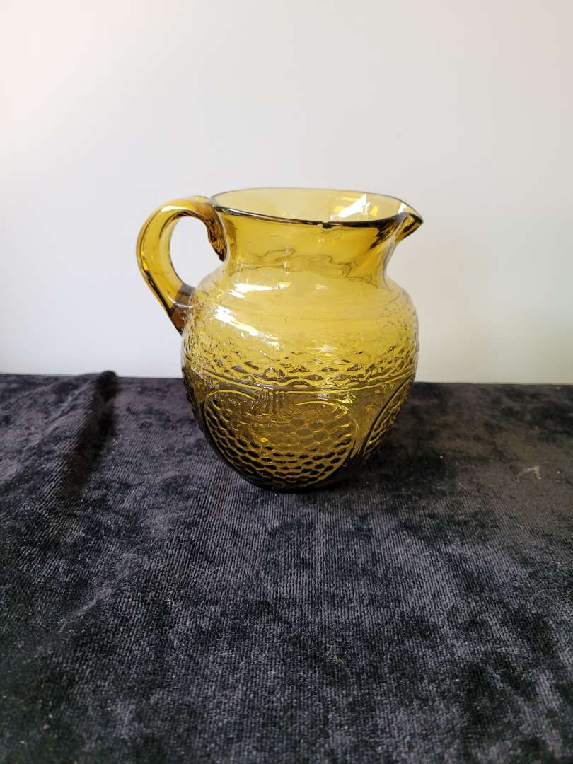 Lot # 129 Blown Amber Glass Water Pitcher