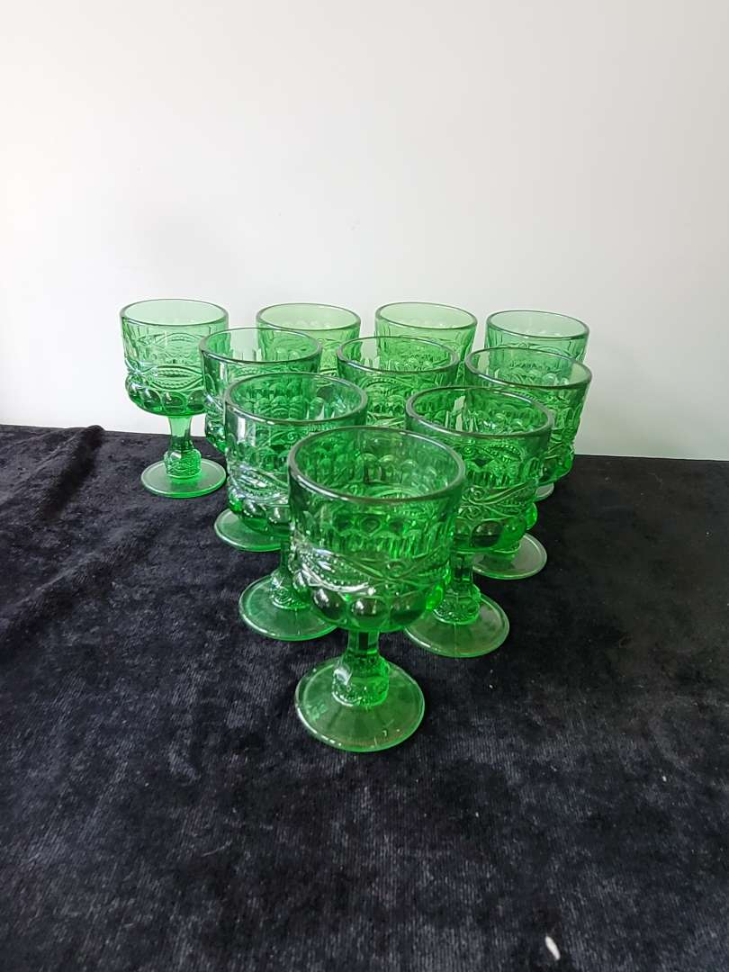 Lot # 130  (10) Vintage Eye Winker Emerald Green Goblets