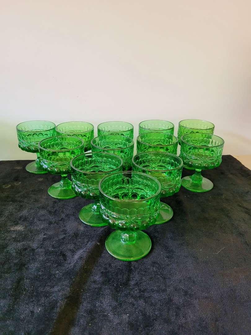 Lot # 131 (12) Vintage Eye Winker Emerald Green Goblets